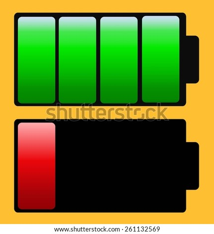 full and discharged battery with yellow background
