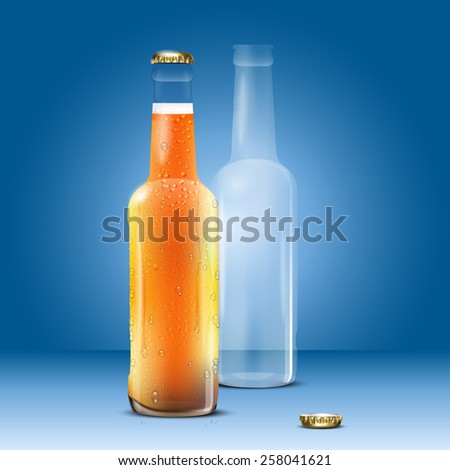 Full and empty beer bottle on blue background - vector illustration - stock vector