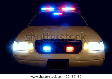 Full array of police car lights. VECTOR. - stock vector
