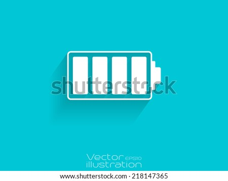 Full battery icon isolated on the blue background - stock vector