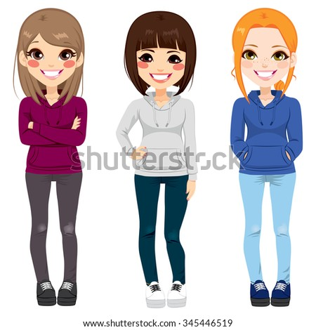 Full body illustration of three happy young teenagers girls from different ethnicity smiling with casual outfit posing together - stock vector