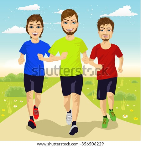 full body portrait of young runner men running outdoor - stock vector