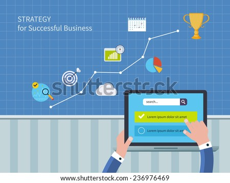 Full circle of concept consulting services including market research and data analysis. Vector illustration icons set of strategy for successful business and strategic planning - stock vector