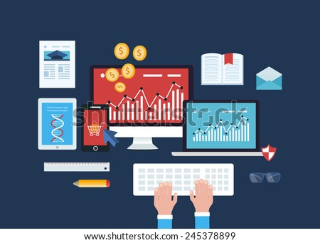 Full circle of concept how organizations use unified communications solutions to improve collaboration, e-commerce, mobile marketing, online shopping, data analysis, employee training - stock vector