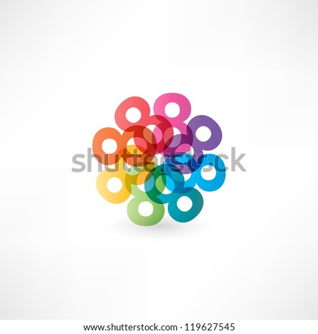 Full color abstract figure of the numbers 8 - stock vector