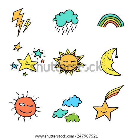 Full color cute and funny doodle style weather icons set - stock vector