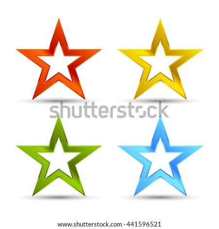 Full color star icons - stock vector