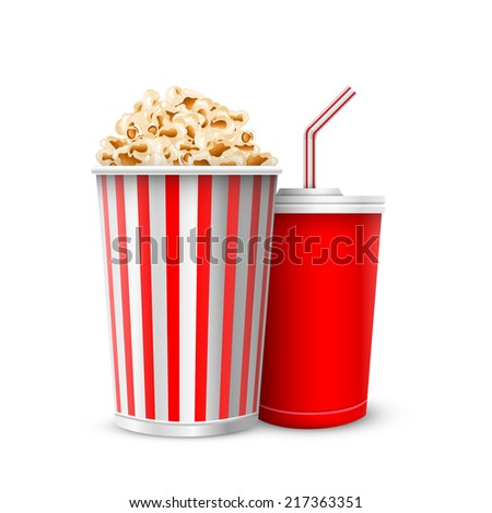 full glass with drink and popcorn vector illustration isolated on white background