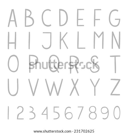Full hand drawn vector alphabet with numbers. The vector Roman alphabet for ui, web games, tablets, wallpapers, and patterns. - stock vector