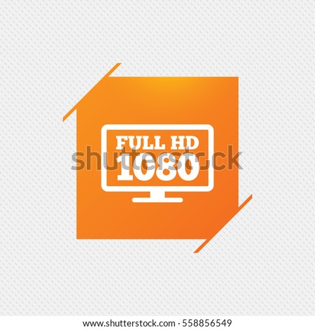 Full hd widescreen tv sign icon. 1080p symbol. Orange square label on pattern. Vector