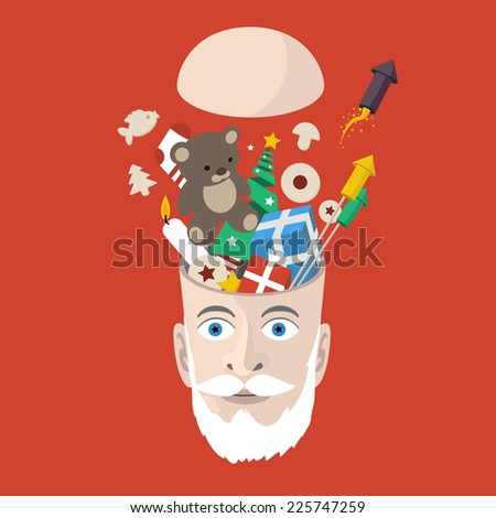 Full head of christmas things - creative xmas flat design illustration, santa claus opened head on red background - stock vector