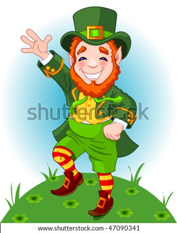 Full length drawing of a leprechaun dancing a jig, copy space - stock vector