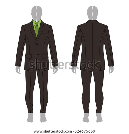 Full length man's grey silhouette figure in a single breasted suit (jacket & shirt & tie & skinny jeans) template (front & back view), 