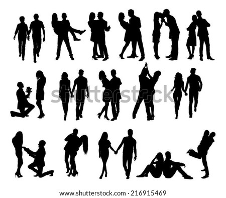Full length of silhouette couple doing various activities against white background. Vector image - stock vector