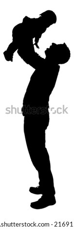 Full length of silhouette father playing with babygirl against white background. Vector image - stock vector