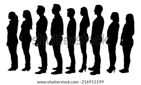 Full length of silhouette people standing in line against white background. Vector image - stock vector
