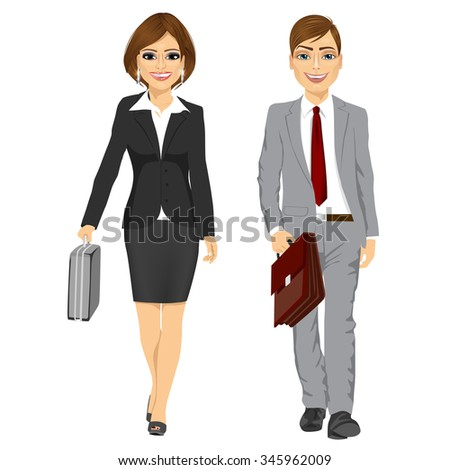 full length picture of a young business man and woman walking forward with a briefcase isolated on white background - stock vector