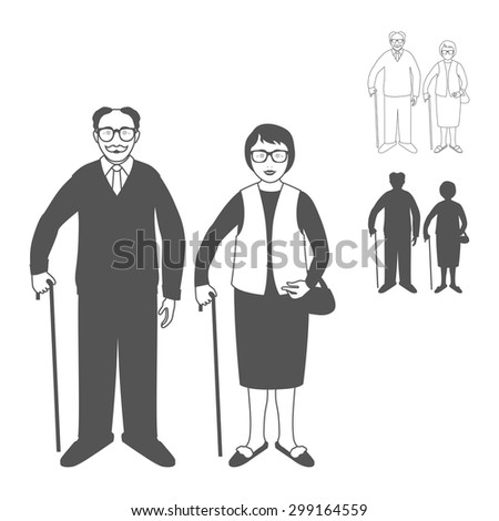Full length portrait of an handsome old man standing with cane and nice old woman standing with cane. Family.Grandfather and grandmother. Realistic image.