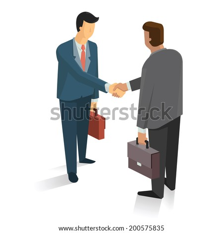 Full length portrait of two businessman shaking hands in making a deal or an agreement.  - stock vector