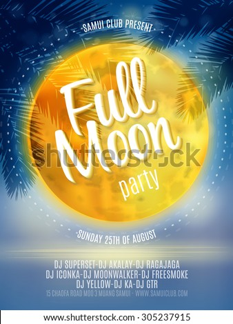 Full Moon Beach Party Flyer. Vector Design EPS 10 - stock vector