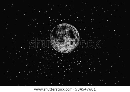 Full moon in outer space on stars backgraund.Dotwork.Vector illustration