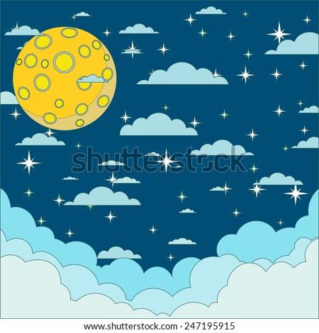 Full moon in the night star sky - stock vector