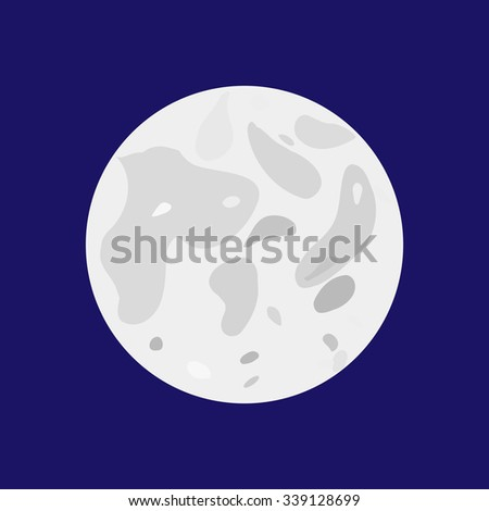 Full Moon - lunar phase. Completely illuminated disc. Flat style vector illustration. - stock vector