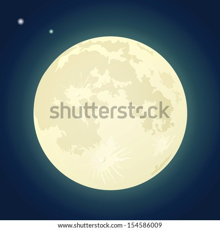 Full Moon on a Dark Blue Sky. Vector Illustration - stock vector