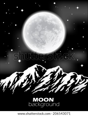 Full Moon over mountains. Night landscape. Vector illustration. - stock vector