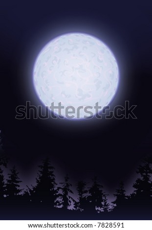 Full moon over trees (other landscapes are in my gallery) - stock vector