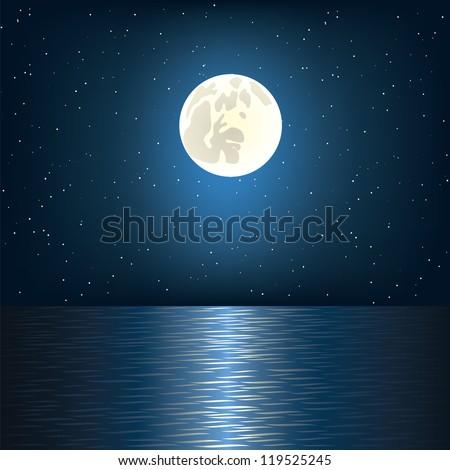 Full moon, star and ocean - stock vector