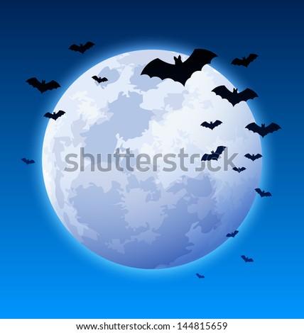 Full moon with bats on Halloween night - stock vector