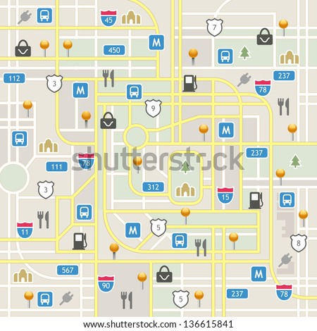 Full navigation set of vector elements in different colors. Map icon legend symbol sign toolkit element. - stock vector