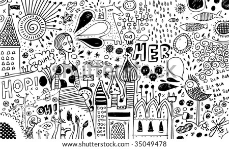 Full page of B/W doodles - stock vector