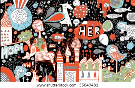 Full page of color doodles - stock vector