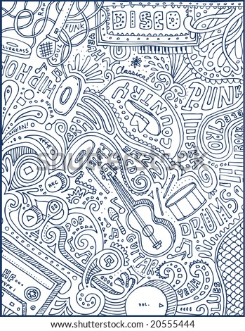 Full page of crazy music doodles.