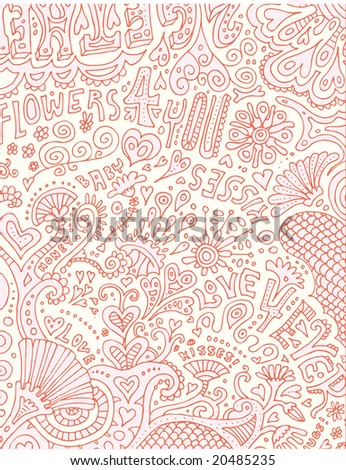Full page of crazy psychedelic love doodles!