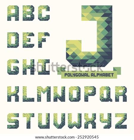 Full polygonal triangular alphabet. Trendy typeset for your design in vector - stock vector