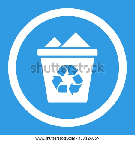 Full Recycle Bin vector icon. Style is flat rounded symbol, white color, rounded angles, blue background.