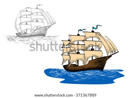 Full rigged old sailing ship at sea waves. Sketch for marine journey, regatta or travel design usage - stock vector