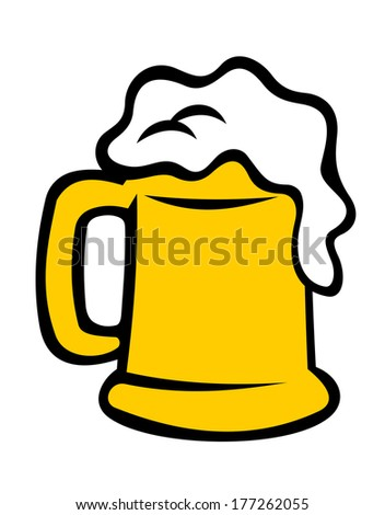Full tankard overflowing with frothy beer, ale or lager isolated on white. Cartoon vector illustration - stock vector