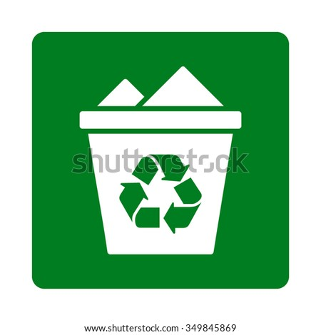 Full Trash Can vector icon. Style is flat rounded square button, white and green colors, white background.