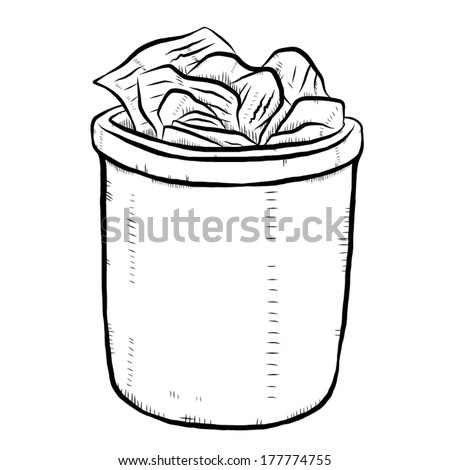 full trash or bin / cartoon vector and illustration, black and white, hand drawn, sketch style, isolated on white background. - stock vector
