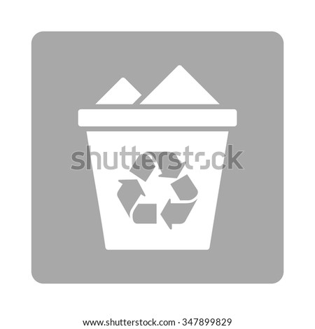 Full Trashcan vector icon. Style is flat rounded square button, white and silver colors, white background.