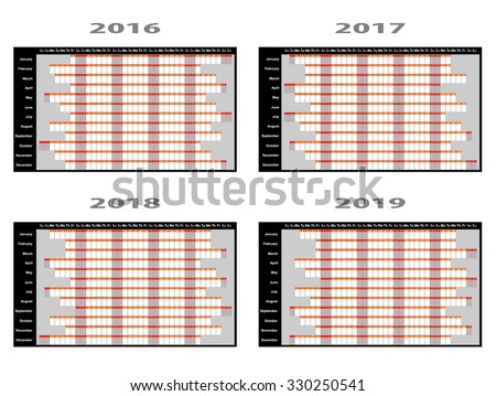 Full year wall planners for 2016, 2017, 2018 and 2019. Vector illustration - stock vector