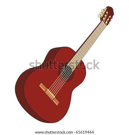 fully editable  illustration classic guitar - stock vector