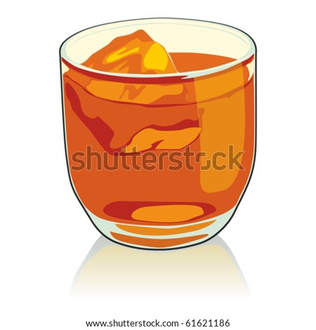 fully editable   illustration whiskey glass - stock vector
