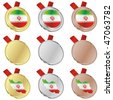 fully editable iran vector flag in medal shapes - stock photo