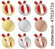 fully editable peru vector flag in medal shapes - stock photo