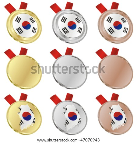 fully editable south korea vector flag in medal shapes